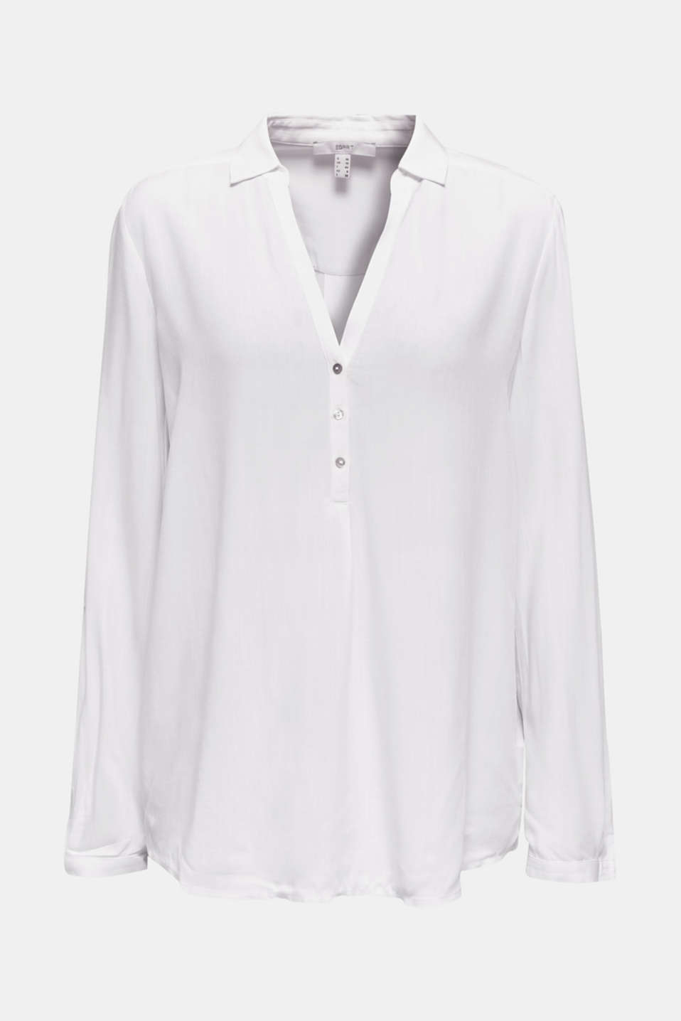 Henley blouse with turn-up sleeves, WHITE, detail image number 7