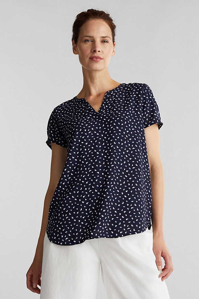 Blouse top made of LENZING™ ECOVERO™, NAVY, detail image number 5
