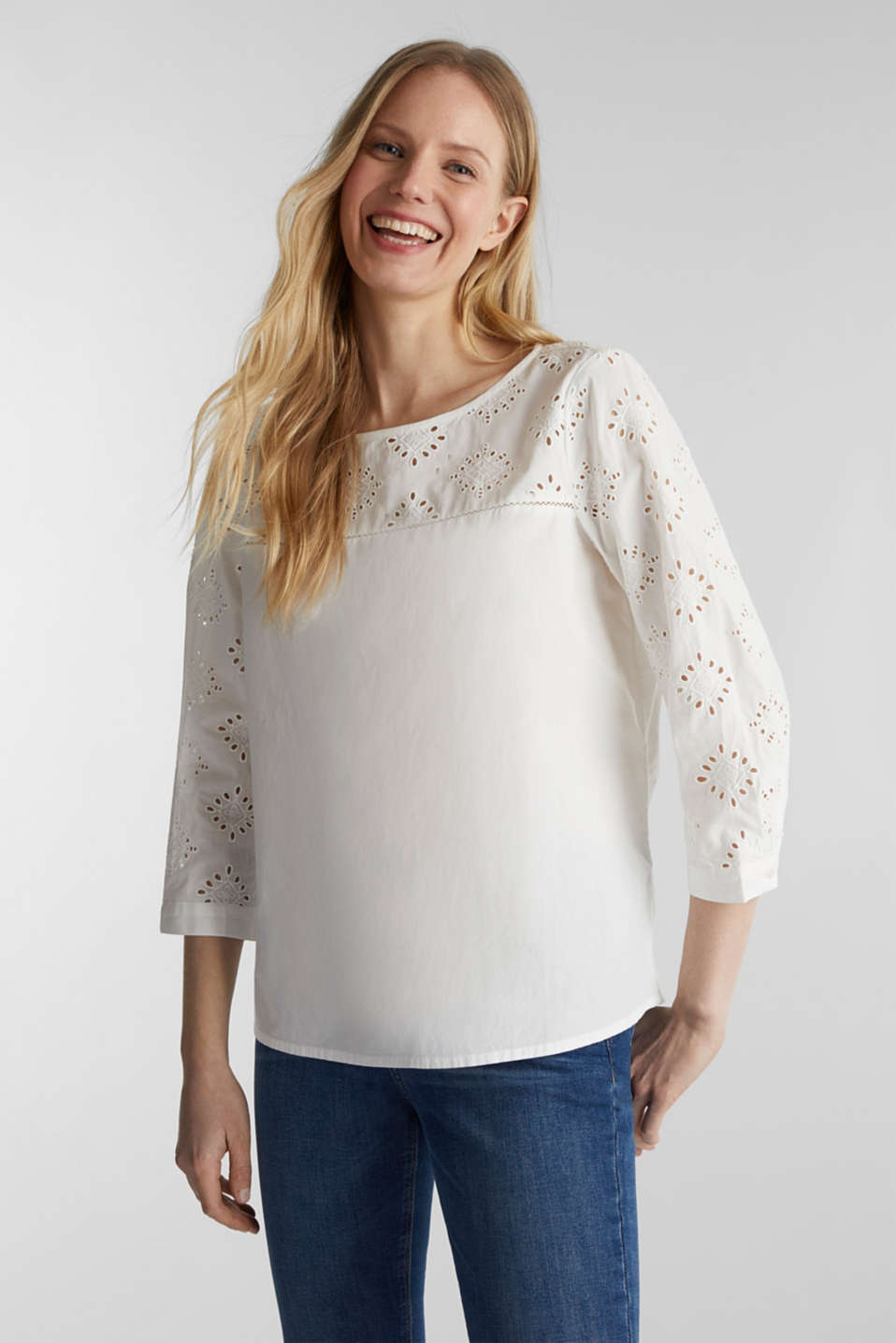 Blouse with broderie anglaise, 100% cotton, OFF WHITE, detail image number 0