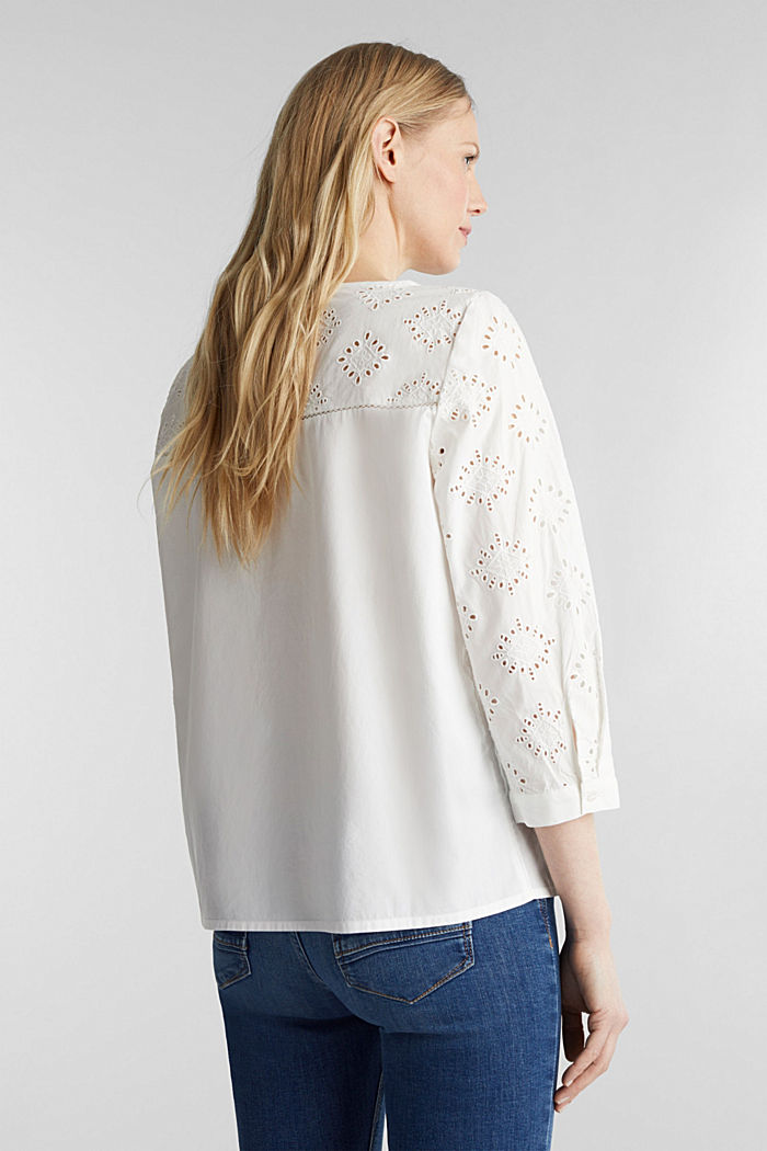 Open-work pattern blouse made of 100% cotton, OFF WHITE, detail image number 3