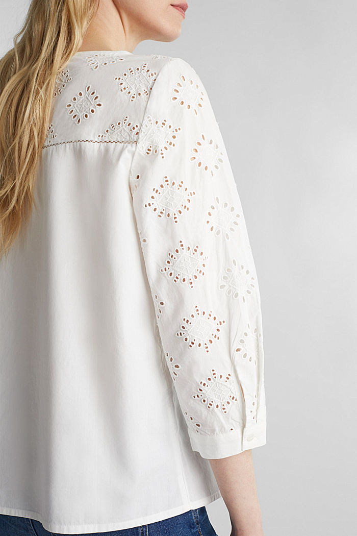 Lochmuster-Bluse, 100% Baumwolle, OFF WHITE, detail image number 2