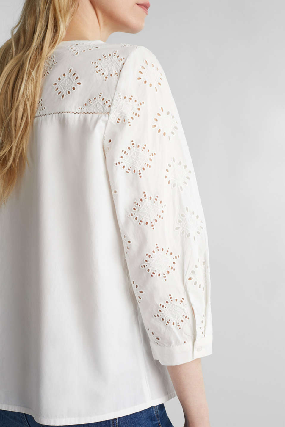 Blouse with broderie anglaise, 100% cotton, OFF WHITE, detail image number 2