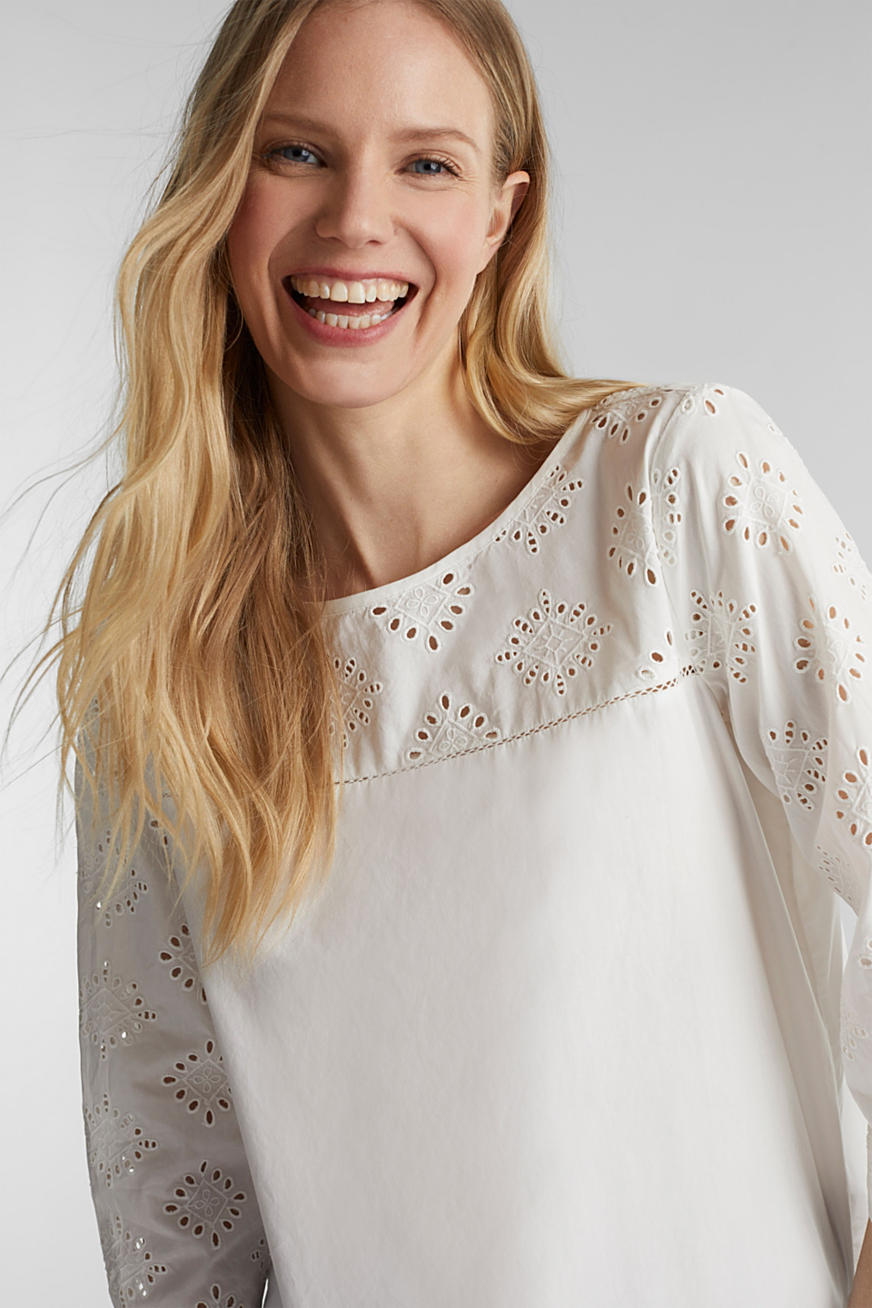Open-work pattern blouse made of 100% cotton