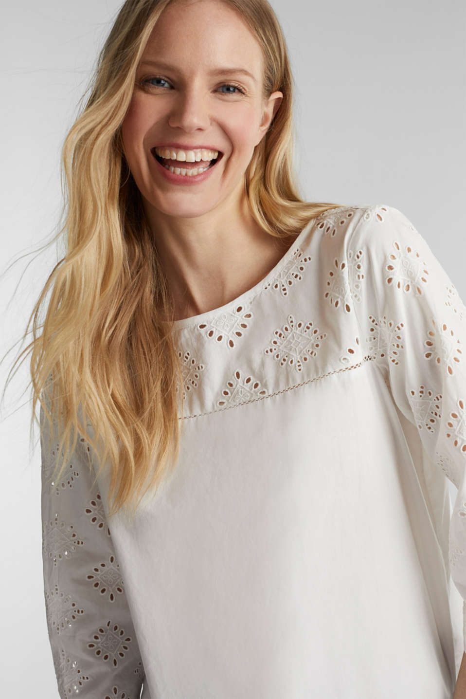 Open-work pattern blouse made of 100% cotton, OFF WHITE, detail image number 5