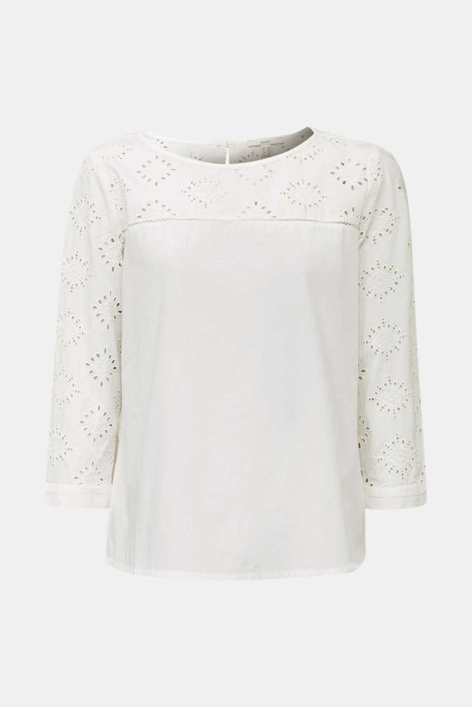Blouse with broderie anglaise, 100% cotton, OFF WHITE, detail image number 6