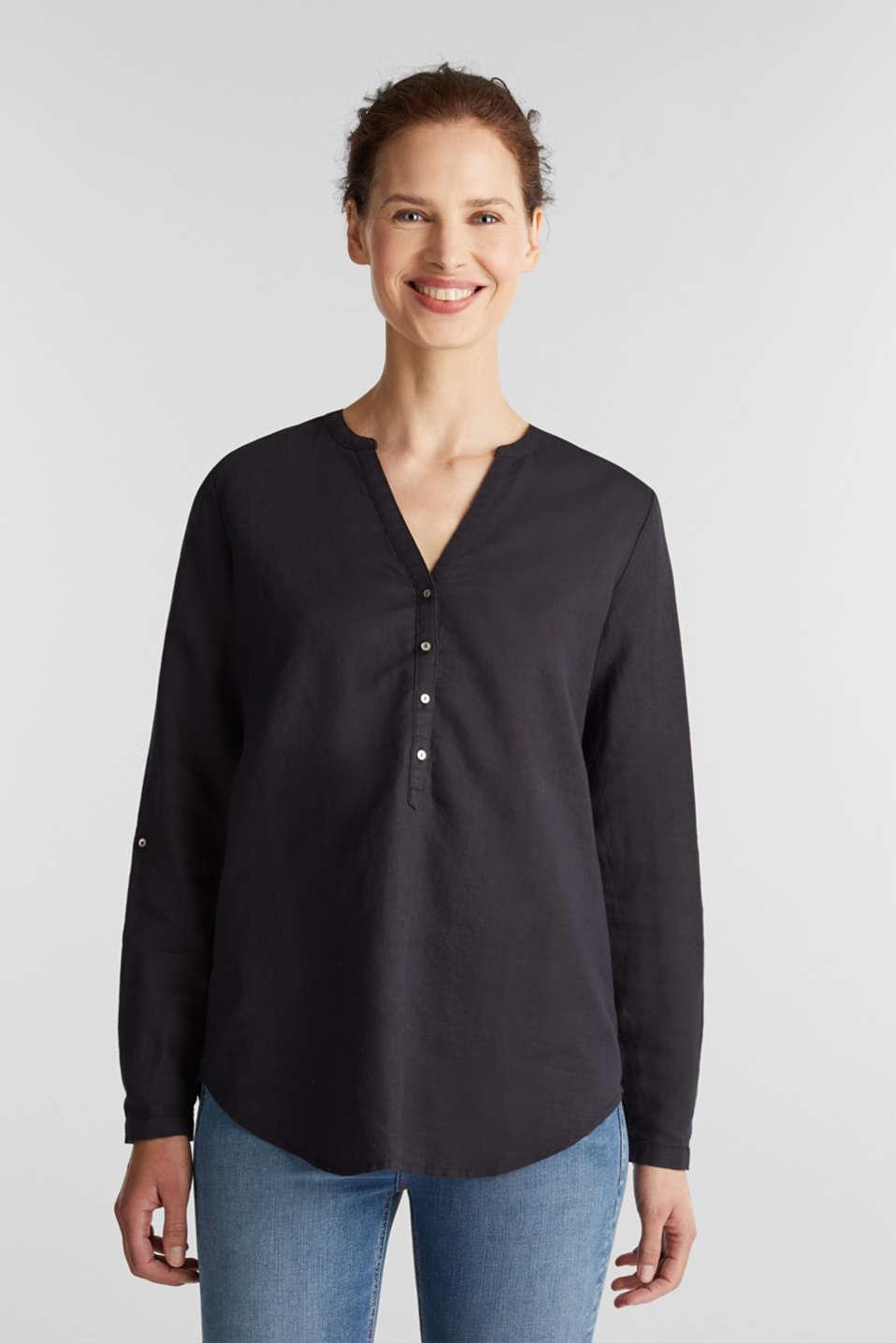 Made of blended linen: Blouse with Henley neckline, BLACK, detail image number 0