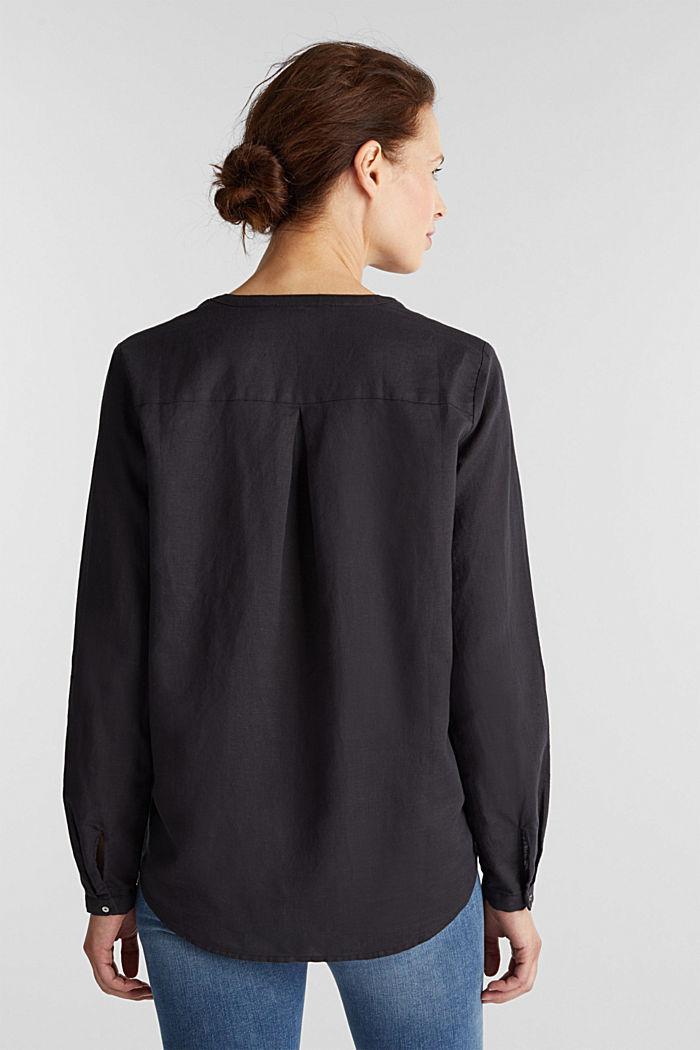 Made of blended linen: Henley blouse, BLACK, detail image number 3