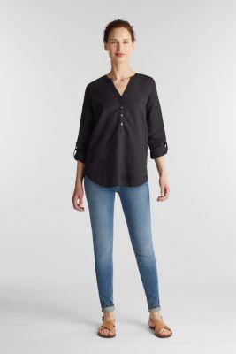 Made of blended linen: Blouse with Henley neckline, BLACK, detail