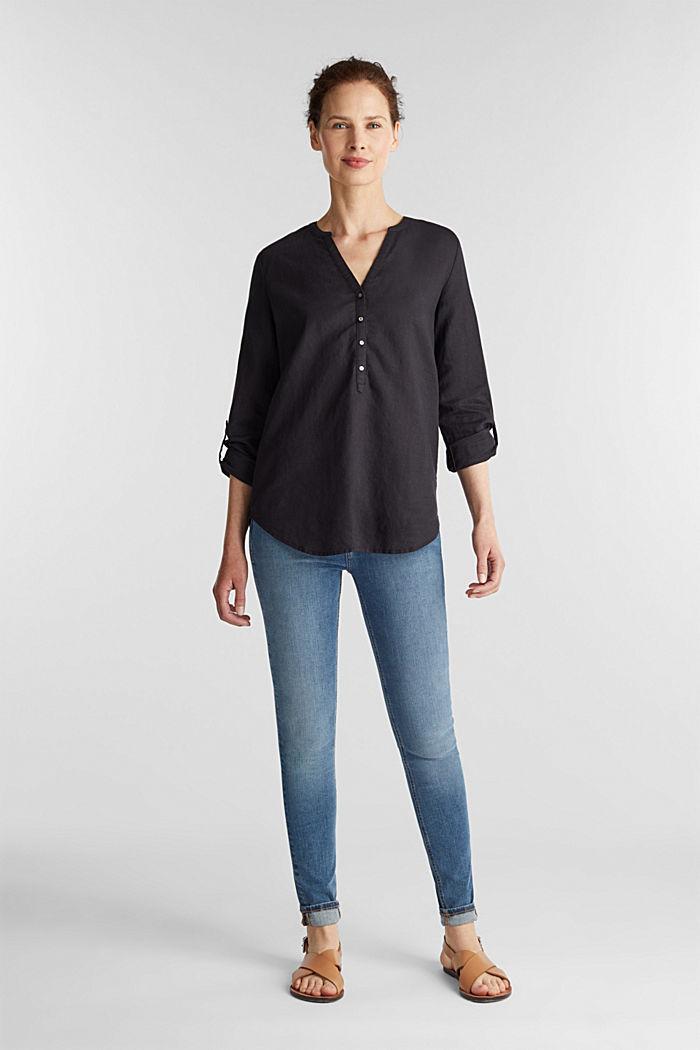 Made of blended linen: Henley blouse, BLACK, detail image number 1