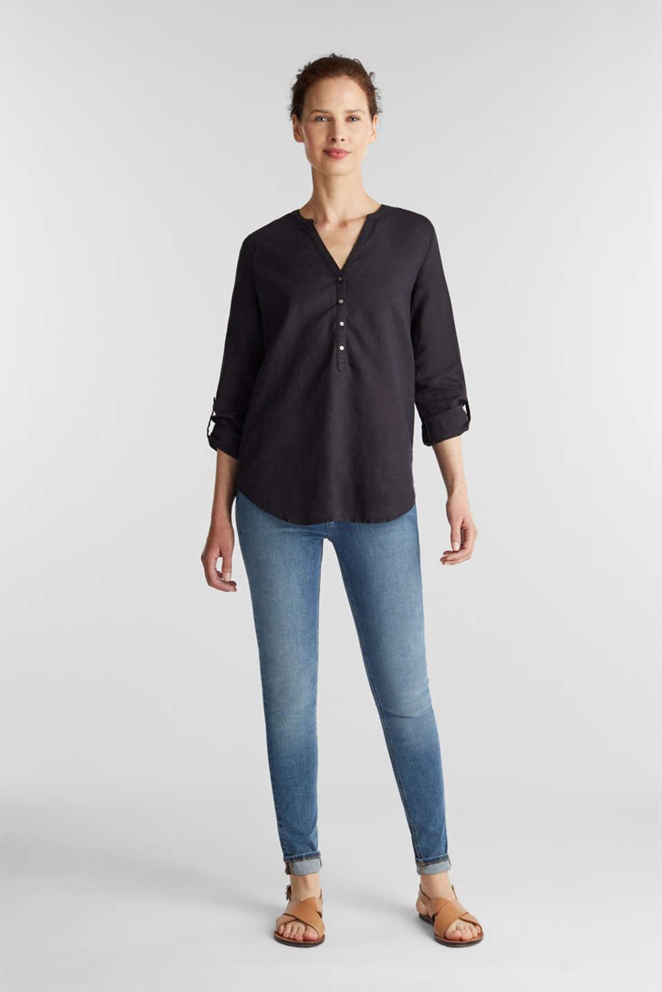 Made of blended linen: Blouse with Henley neckline, BLACK, detail image number 1