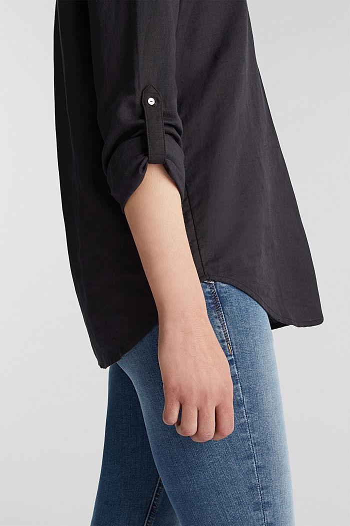 Made of blended linen: Henley blouse, BLACK, detail image number 2