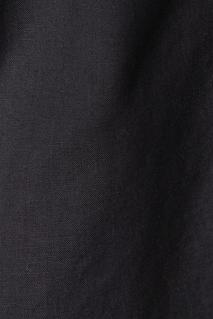 Made of blended linen: Henley blouse, BLACK, detail image number 4