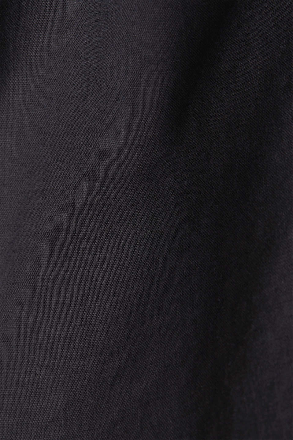 Made of blended linen: Blouse with Henley neckline, BLACK, detail image number 4
