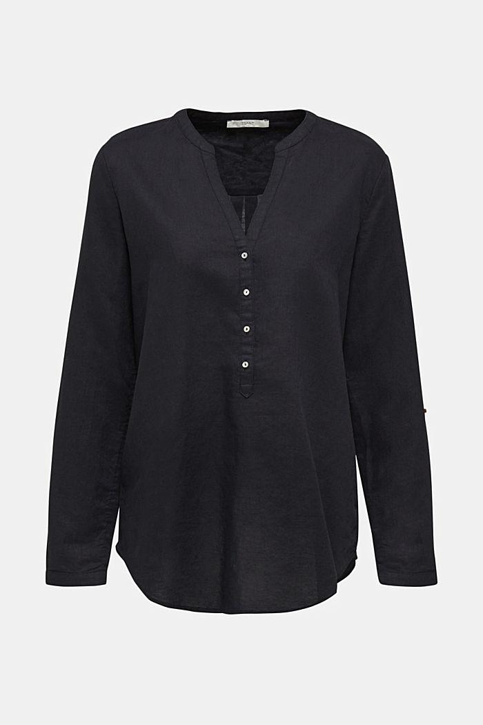 Made of blended linen: Henley blouse