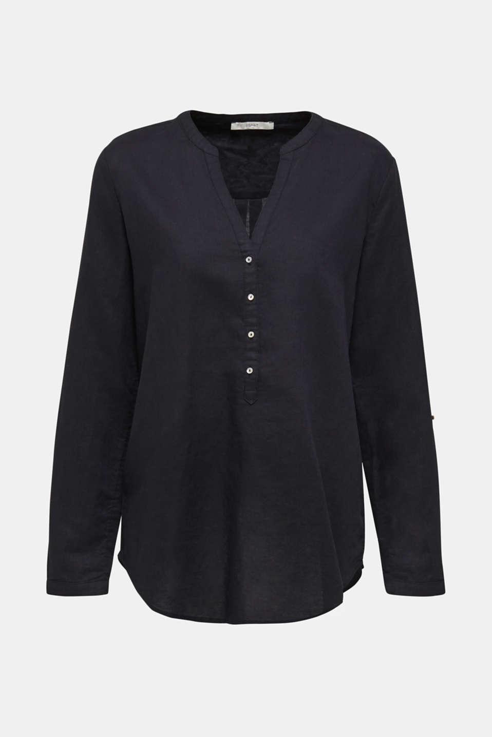 Made of blended linen: Blouse with Henley neckline, BLACK, detail image number 7