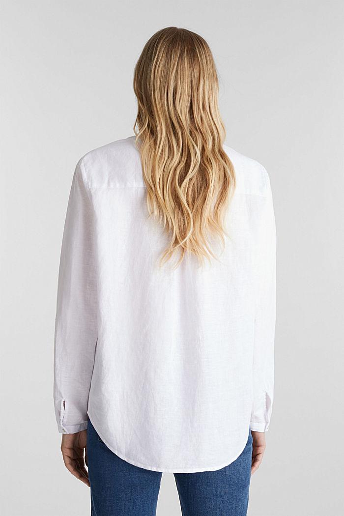 Van een linnenmix: henley blouse, WHITE, detail image number 3