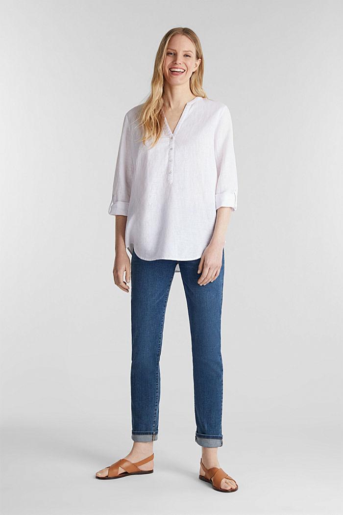Van een linnenmix: henley blouse, WHITE, detail image number 1