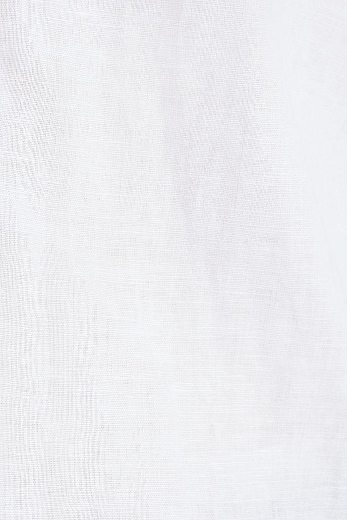 Van een linnenmix: henley blouse, WHITE, detail image number 4