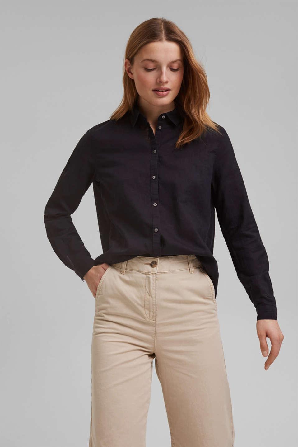 Linen blend: shirt blouse, BLACK, detail image number 0