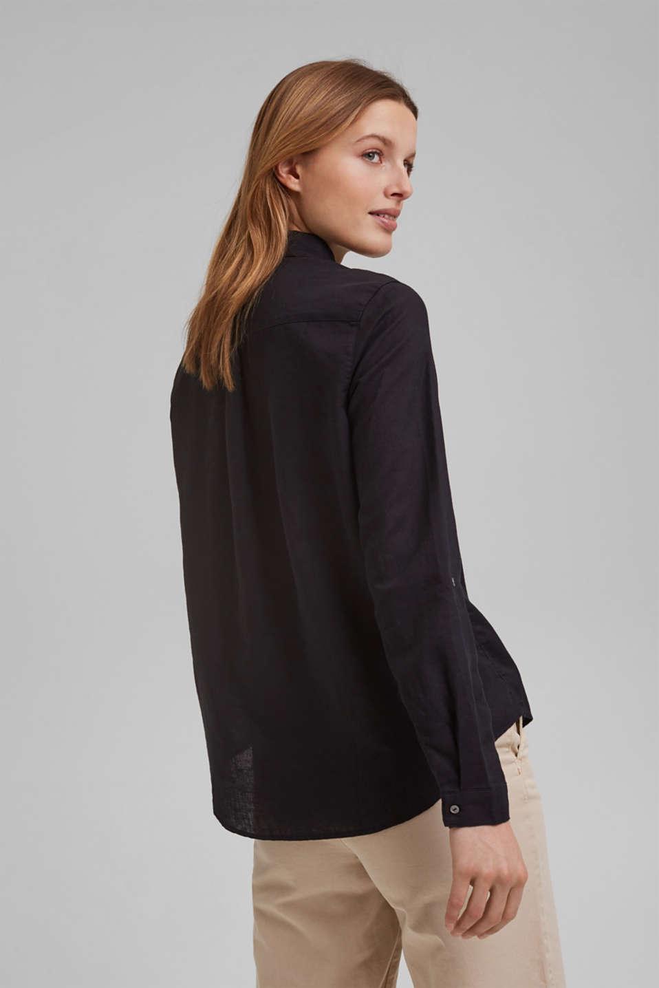 Linen blend: shirt blouse, BLACK, detail image number 3