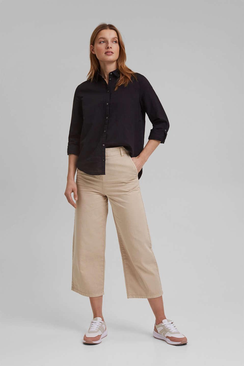 Linen blend: shirt blouse, BLACK, detail image number 1