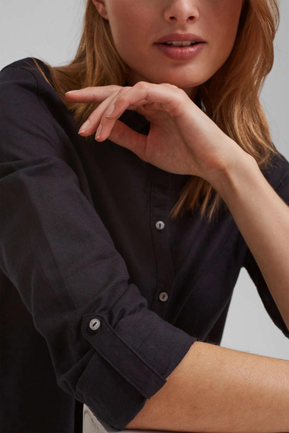 Linen blend: shirt blouse, BLACK, detail image number 2
