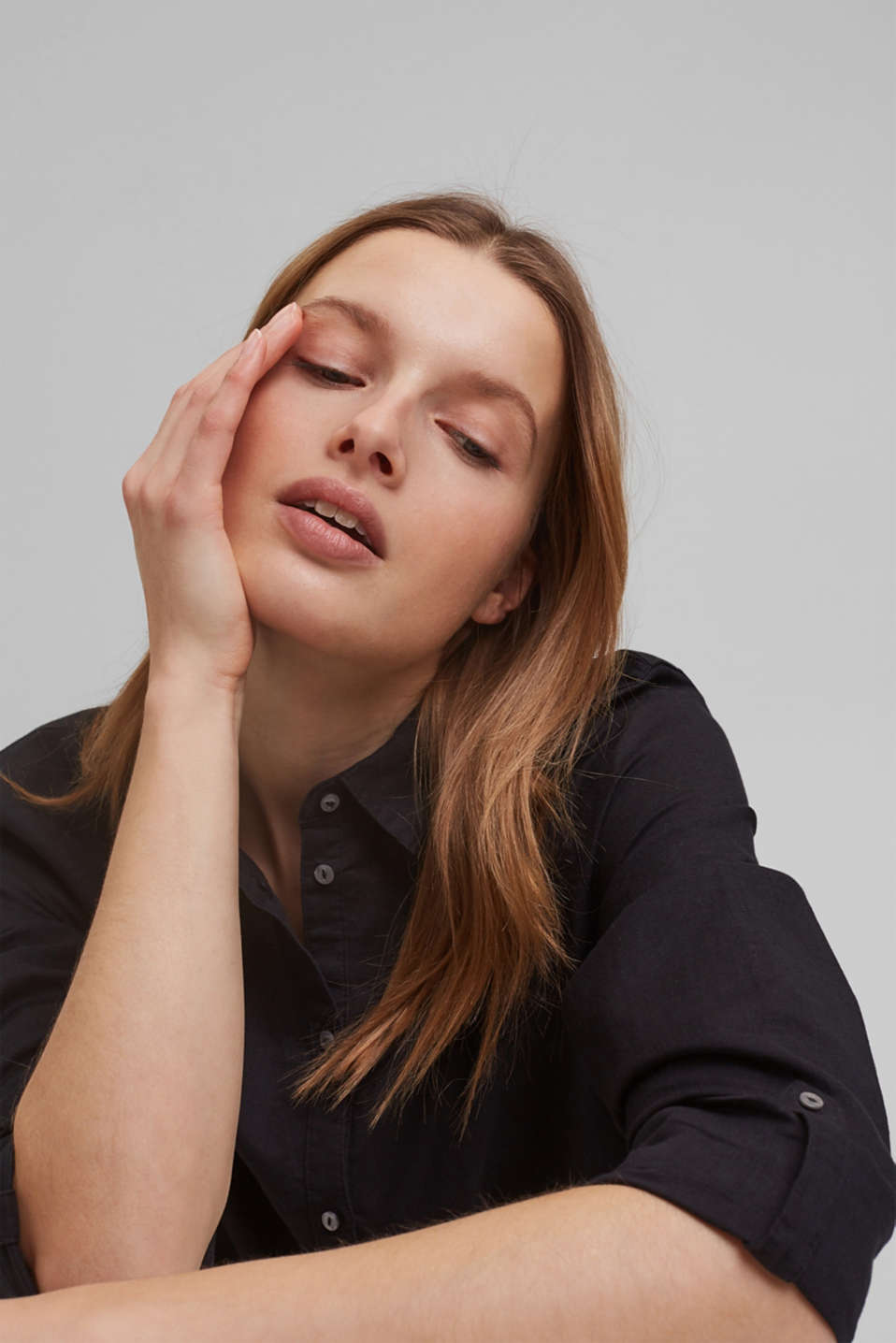 Linen blend: shirt blouse, BLACK, detail image number 6