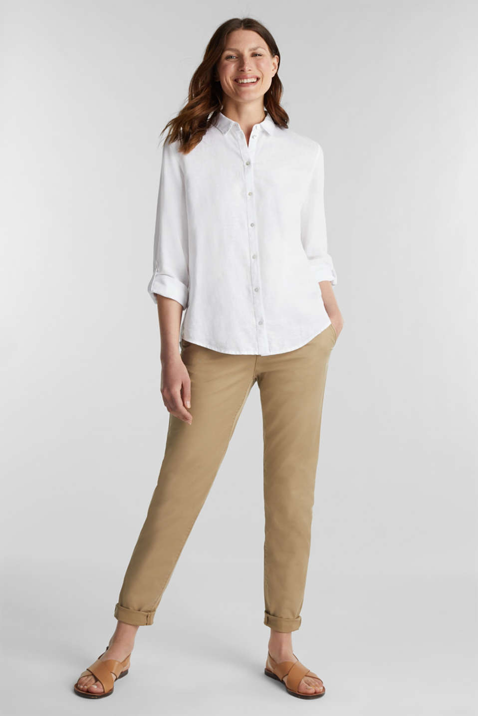 Linen blend: shirt blouse, WHITE, detail image number 1
