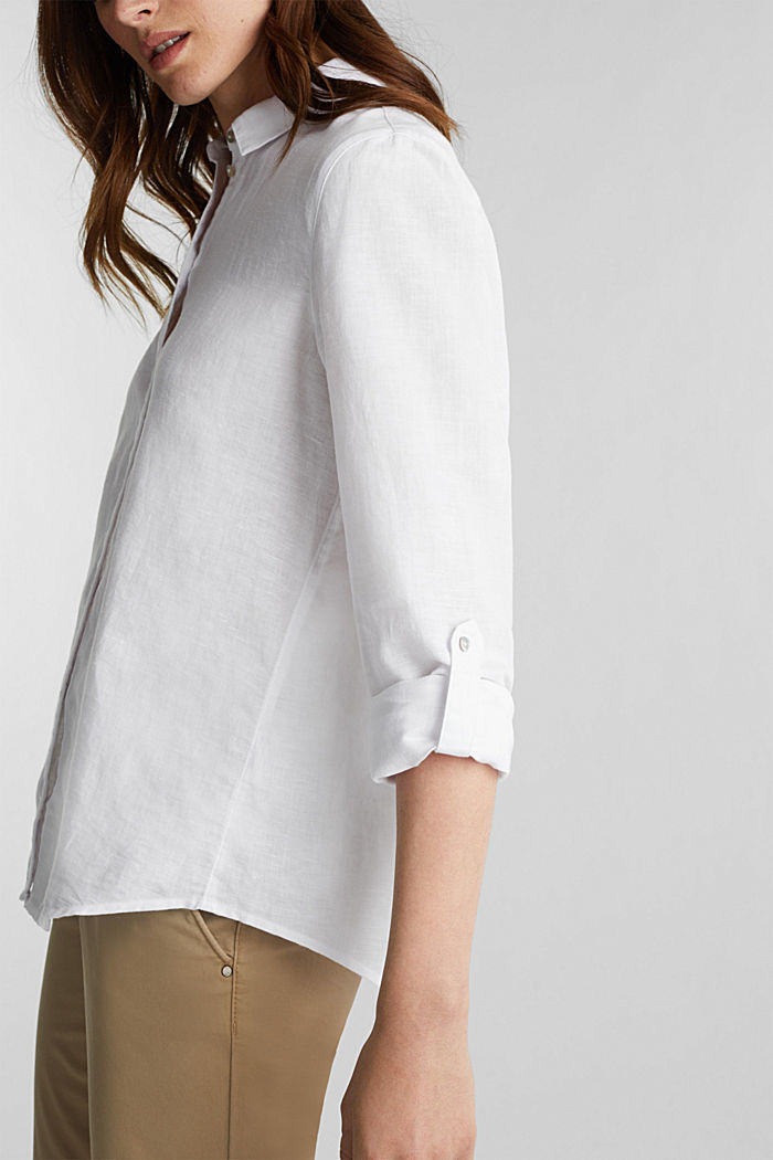 Linen blend: shirt blouse, WHITE, detail image number 5