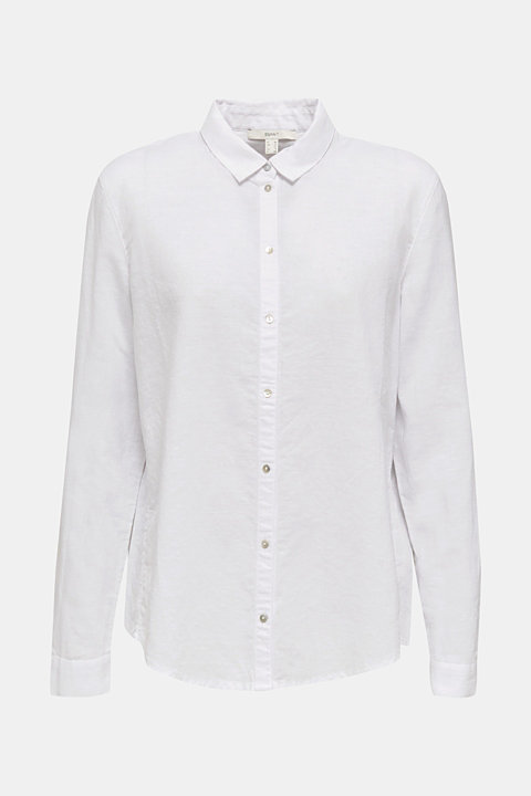 Made of blended linen: shirt blouse with a collar