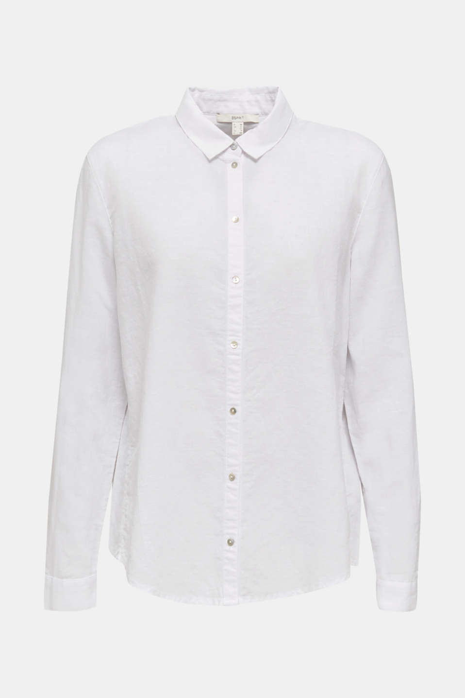 Linen blend: shirt blouse, WHITE, detail image number 7