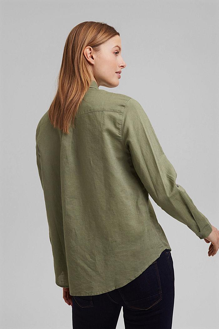 Aus Leinen-Mix: Hemd-Bluse, LIGHT KHAKI, detail image number 3