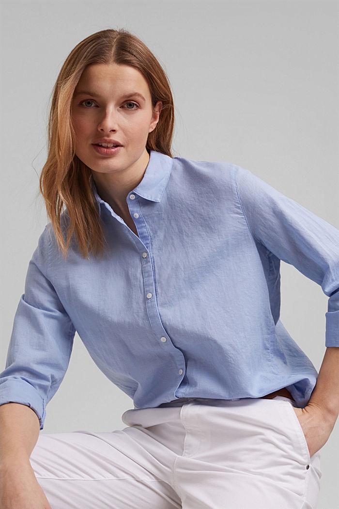 Linen blend: shirt blouse, LIGHT BLUE LAVENDER, detail image number 0