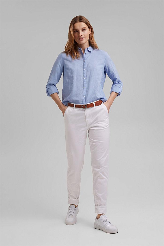 Linen blend: shirt blouse, LIGHT BLUE LAVENDER, detail image number 1
