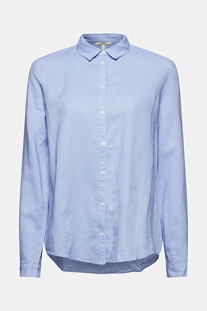 Linen blend: shirt blouse, LIGHT BLUE LAVENDER, detail image number 6