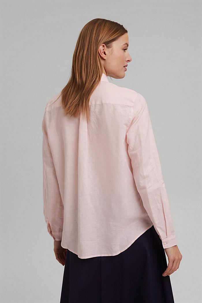 Linen blend: shirt blouse, LIGHT PINK, detail image number 3