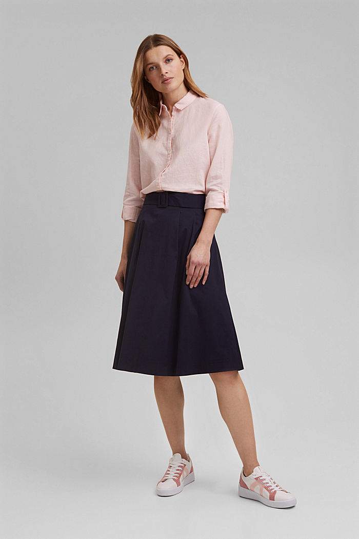Linen blend: shirt blouse, LIGHT PINK, detail image number 1
