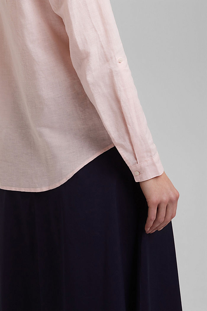 Linen blend: shirt blouse, LIGHT PINK, detail image number 2