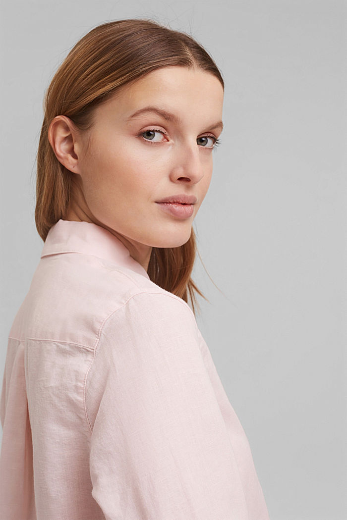 Linen blend: shirt blouse, LIGHT PINK, detail image number 5