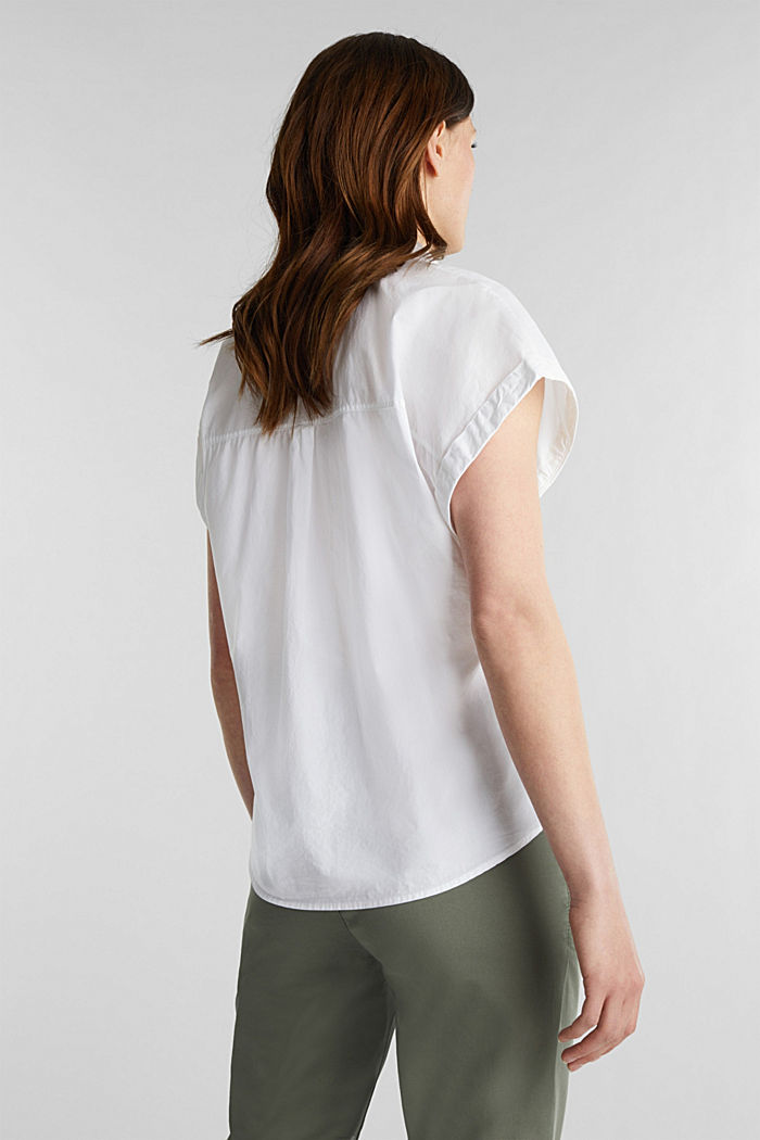 Blouse top made of 100% cotton, WHITE, detail image number 2