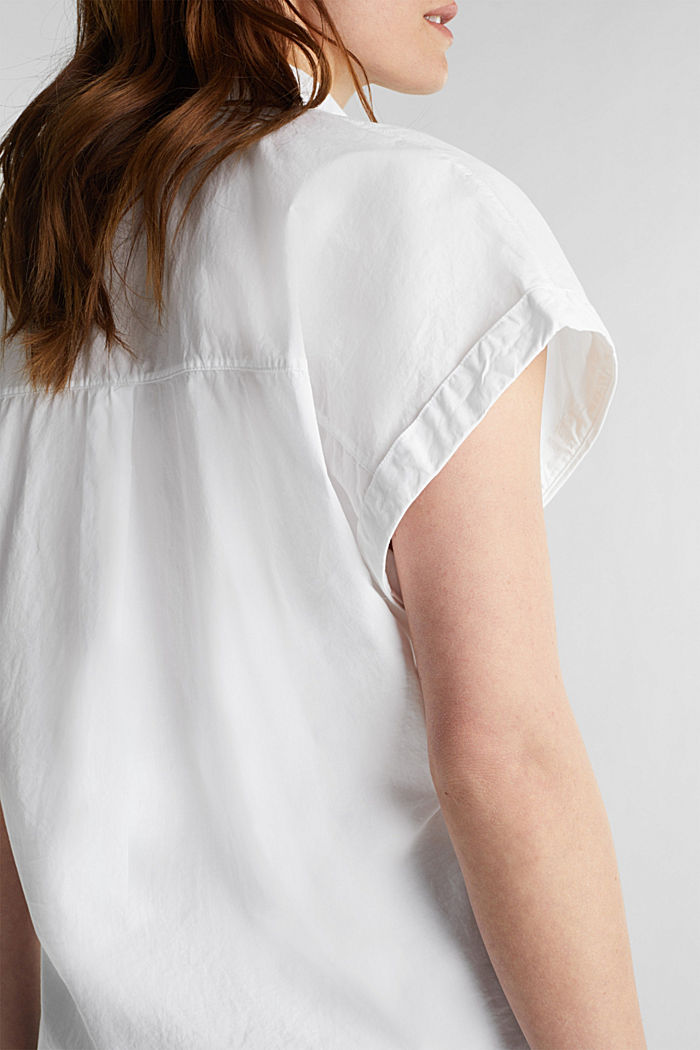 Blouse top made of 100% cotton, WHITE, detail image number 4