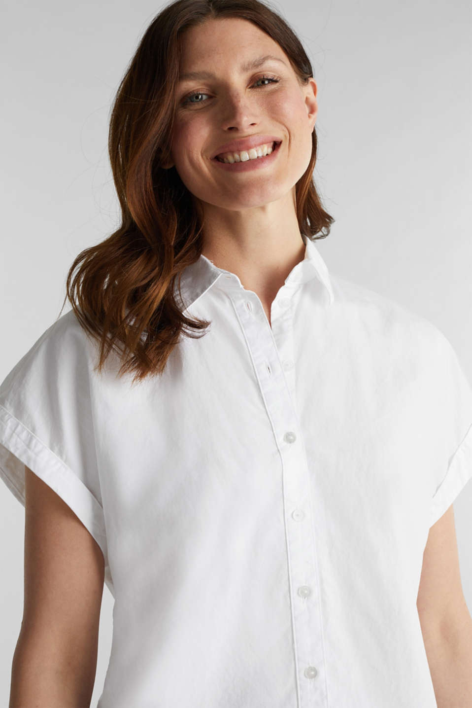 Blouse top made of 100% cotton, WHITE, detail image number 5
