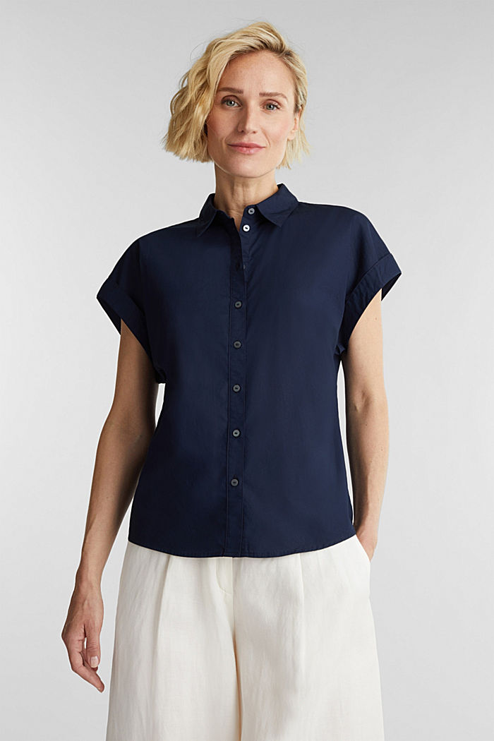 Blouse top made of 100% cotton, NAVY, detail image number 0