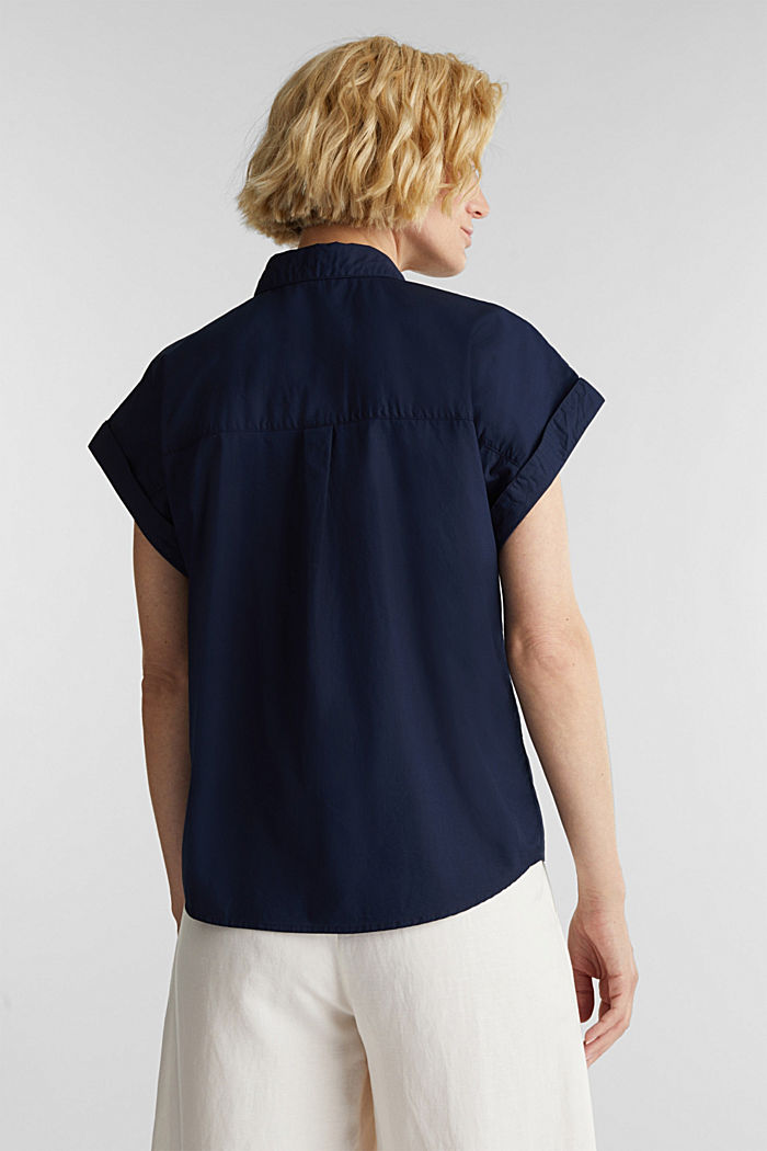 Blouse top made of 100% cotton, NAVY, detail image number 3