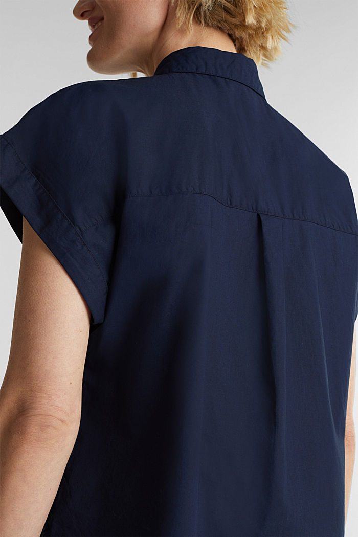 Blouse top made of 100% cotton, NAVY, detail image number 2