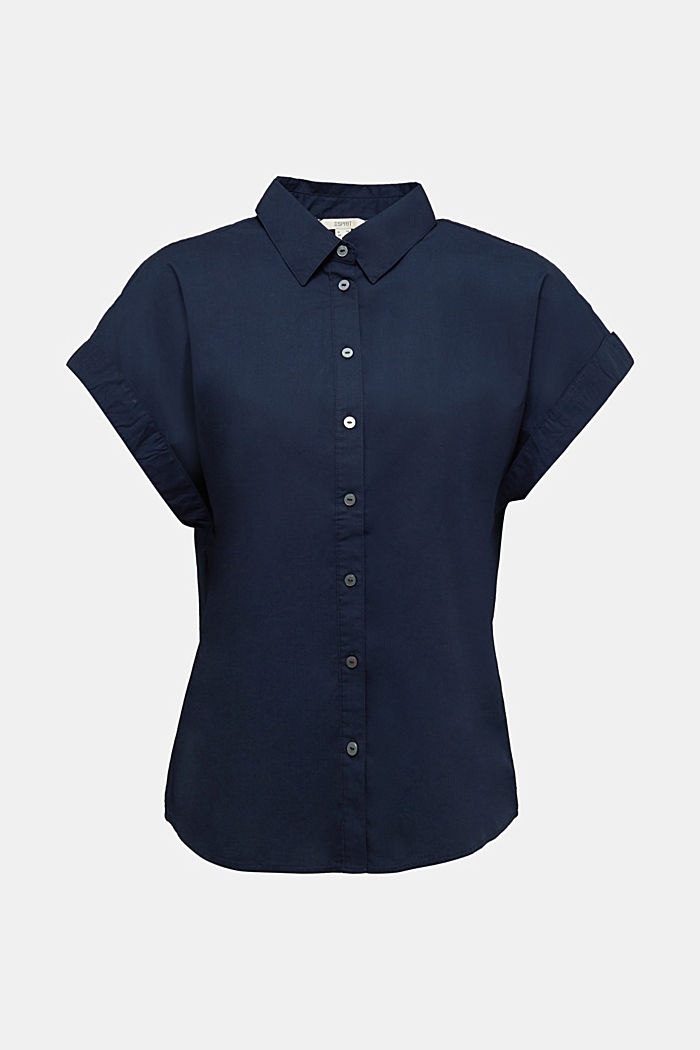 Blouse top made of 100% cotton, NAVY, detail image number 7