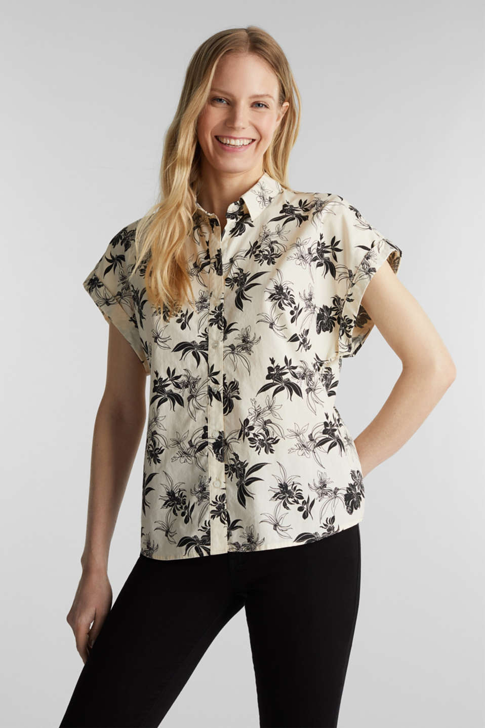 Floral print blouse, 100% organic cotton, OFF WHITE, detail image number 0