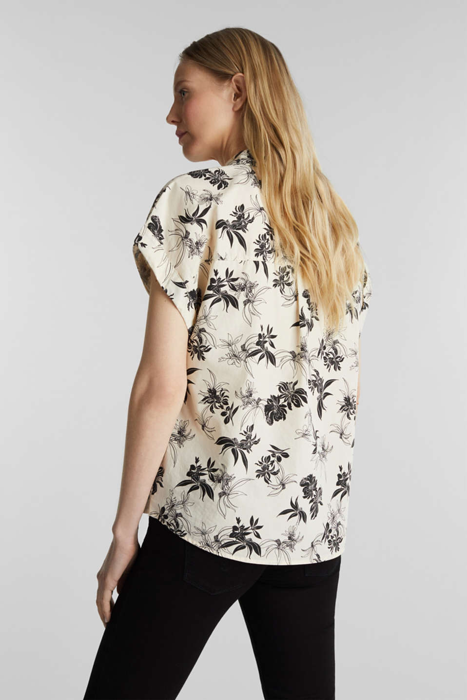 Floral print blouse, 100% organic cotton, OFF WHITE, detail image number 3