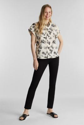 Print blouse made of 100% organic cotton, OFF WHITE, detail