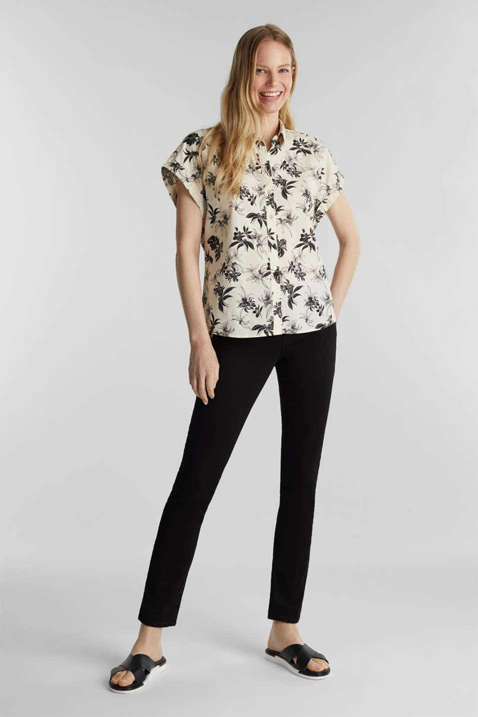 Floral print blouse, 100% organic cotton, OFF WHITE, detail image number 1